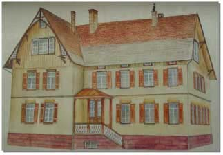 Zeichnung Schulgebäude von 1884
